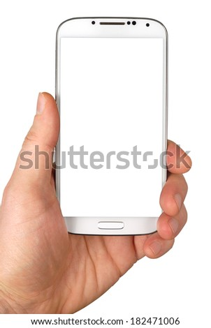Male hand with white smartphone isolated over white background. Clipping path included. - stock photo