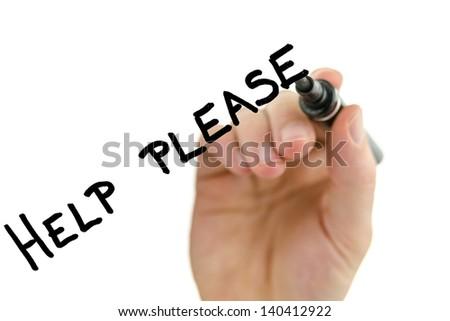 Male hand writing phrase Help please on virtual whiteboard. - stock photo