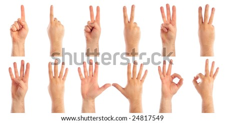 Male hands counting - stock photo