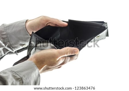 Male hands holding an empty wallet. Isolated over white background. - stock photo
