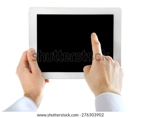 Male hands holding digital tablet isolated on white - stock photo