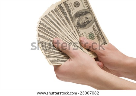 Male hands holding money (dollar banknotes) isolated on white background