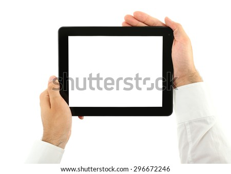 Male hands holding tablet isolated on white - stock photo