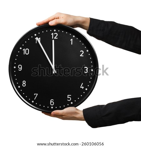 Male hands keeping office clock isolated on white background - stock photo
