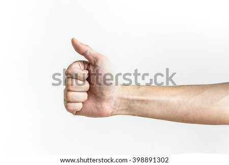 male hands showing thumbs up sign, isolated on white background - stock photo
