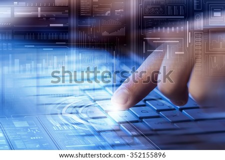 Male hands typing on keyboard over digital background - stock photo