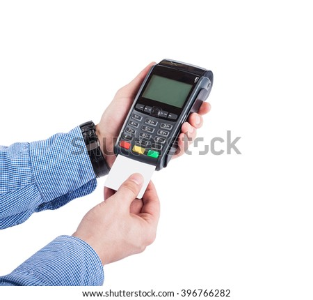 Male hands with blue sleeves insert  blank white credit card into card  machine or pos terminal isolated on white background