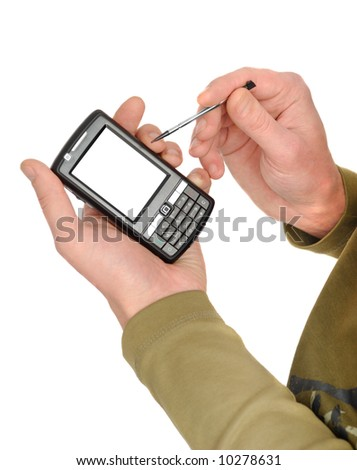 Male hands with communicator isolated over white background - stock photo
