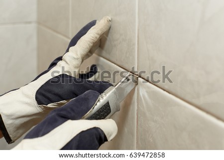 Male Hands Knife Removing Old Grout Stock Photo Royalty Free
