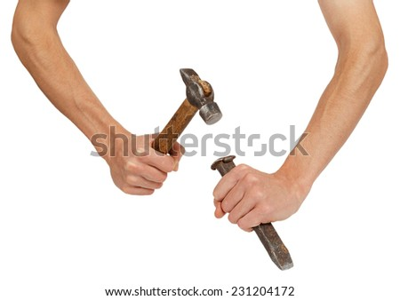 Male hands working with hammer and chisel isolated on white background - stock photo