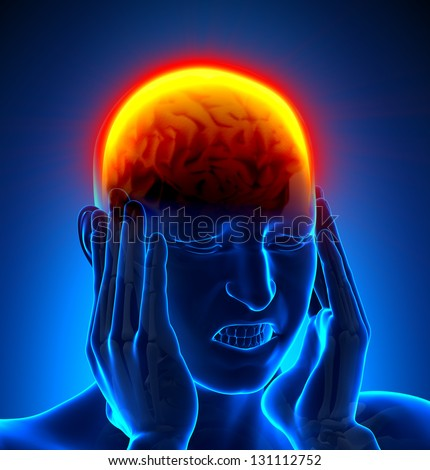 Male Head Pain - stock photo