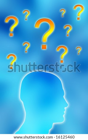 male head silhouette with question marks above himself against a blue background