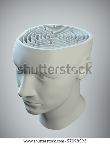 Male head with a labyrinth inside - stock photo