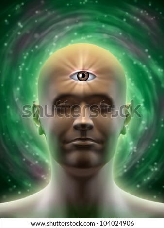 Male head with an open third eye in the middle of its forehead. Digital illustration. - stock photo