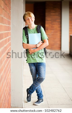 male high school student in school - stock photo