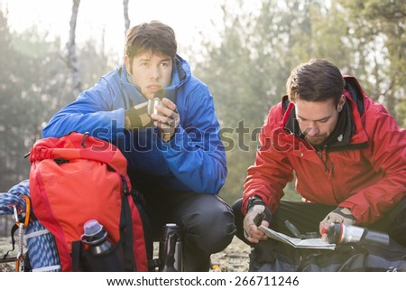 Male hiker reading map while friend having coffee in forest - stock photo