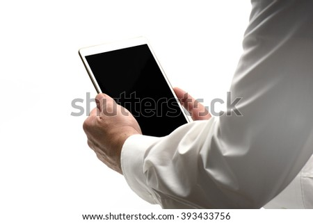 Male holding Touch Screen with dark screen