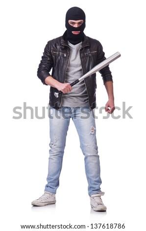 Male hooligan with bat on white - stock photo