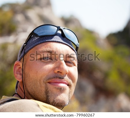 Male in hike - stock photo