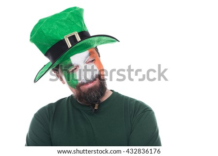 male irish soccer fan looks challenging, isolated on white