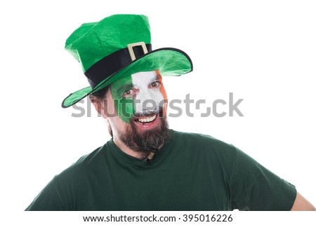 male irish soccer fan looks happy, isolated on white