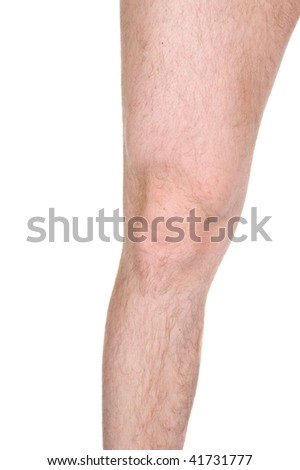 male knee on white background