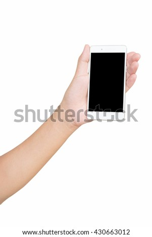 Male left hand holding and touching on white mobile smartphone with blank screen. isolated on white background