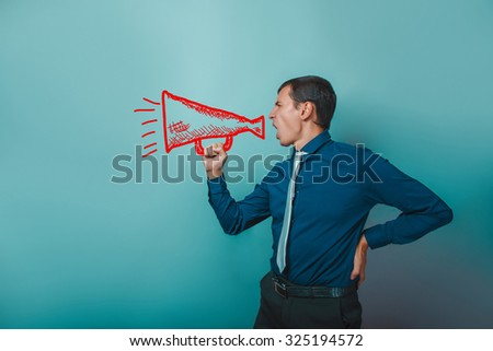 male man businessman holding a megaphone speaker shout shouts standing sideways sketch - stock photo