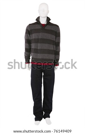 Male mannequin dressed in fashionable clothes, isolated on white