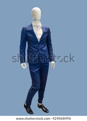 Male mannequins dressed in blue suit, isolated. No brand names or copyright objects. - stock photo