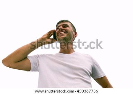 Male, mobile phone, isolated white