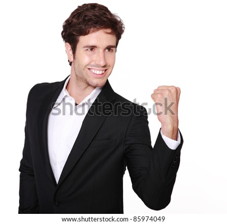 male model in business suit cheerful