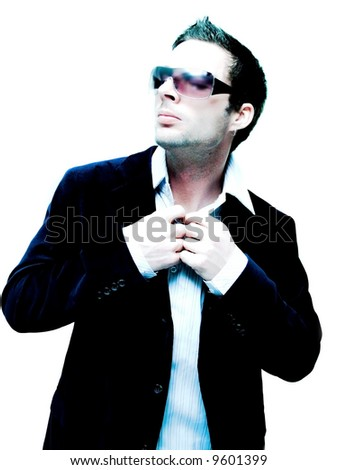 Male model looking all ready(extreme light for effect) - stock photo