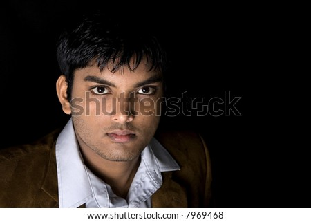 Male Model over black background