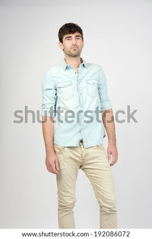 male model posing wearing jeans and shirt  - stock photo
