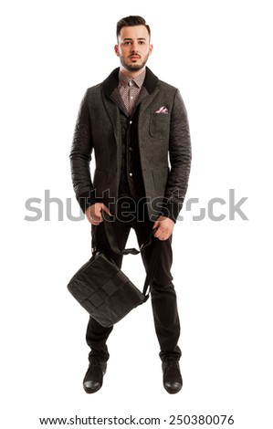 Male model wearing a casual business spring fashion concept - stock photo