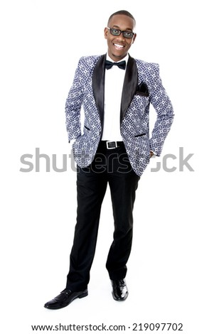Male Model wearing Formal Traditional Suit, Isolated on White - stock photo