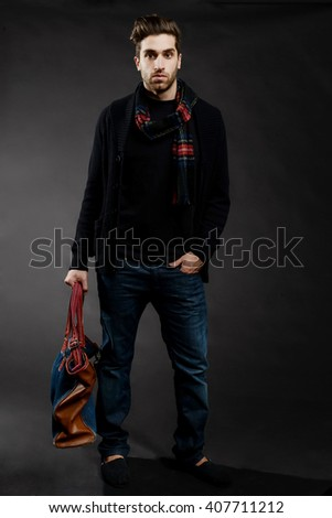 Male Model with scarf and bag