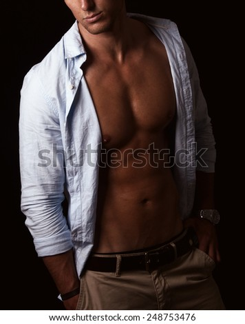 male muscular body details - stock photo