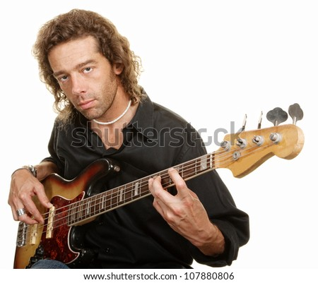 Male musician playing guitar over white background
