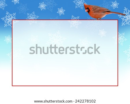 Male Northern Cardinal on ghosted back horizontal copy area with stylized snow background - stock photo