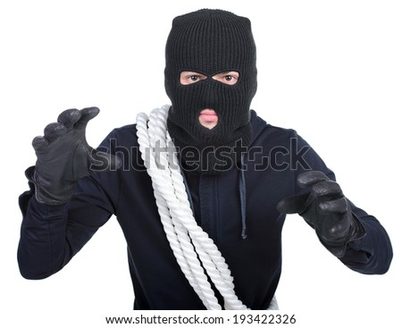 Male offender from Balaklava in the head with a rope. Isolated on white background