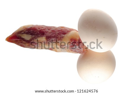 male penis and testicles concept eggs and sausage isolated