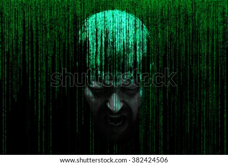 male person screaming in the security concept of binary code - stock photo