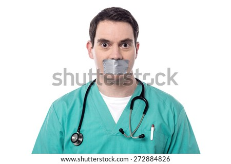 Male physician mouth covered by duct tape - stock photo