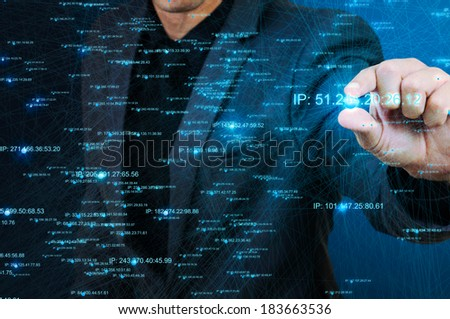 male picking node of network structure - stock photo