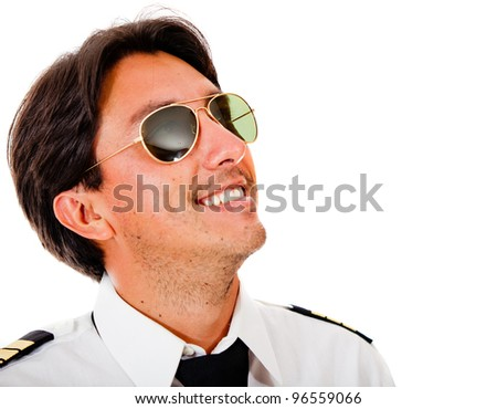 Male pilot wearing sunglasses looking up - isolated over a white background - stock photo
