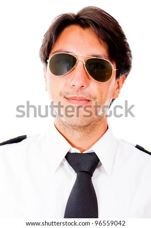 Male pilot with sunglasses - isolated over a white background - stock photo