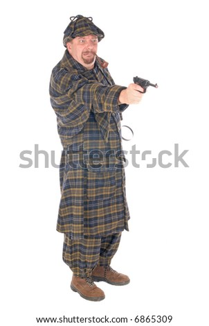 Male police officer dressed up as detective  Sherlock Holmes investigating crime scene with weapon, gun. White background