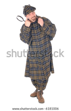 Male police officer dressed up as Sherlock Holmes investigating crime scene with magnifying glass. White background - stock photo